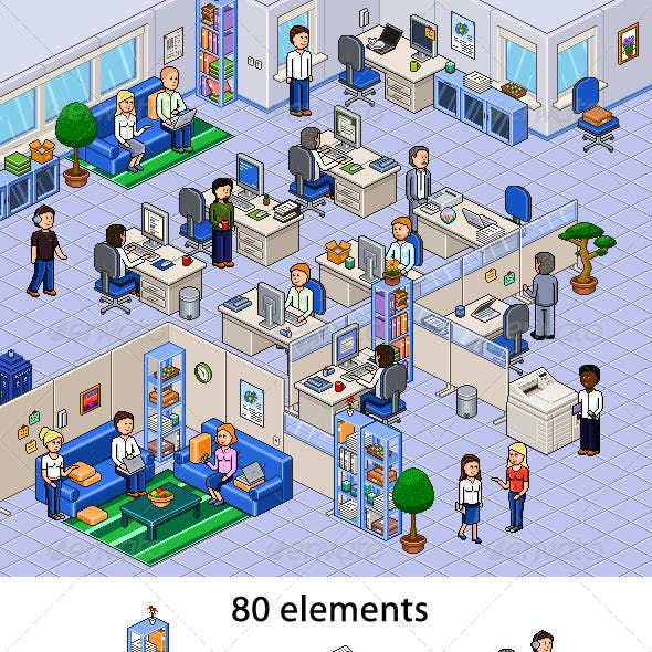 Pixel Art Office Set