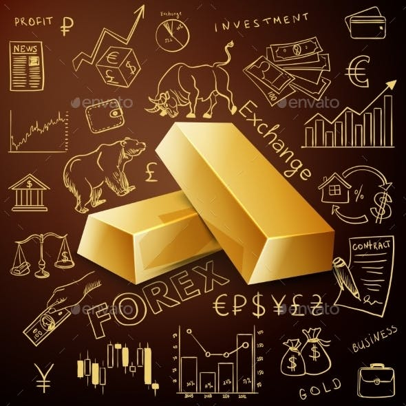 Two Gold Nuggets And Exchange Doodle Icon