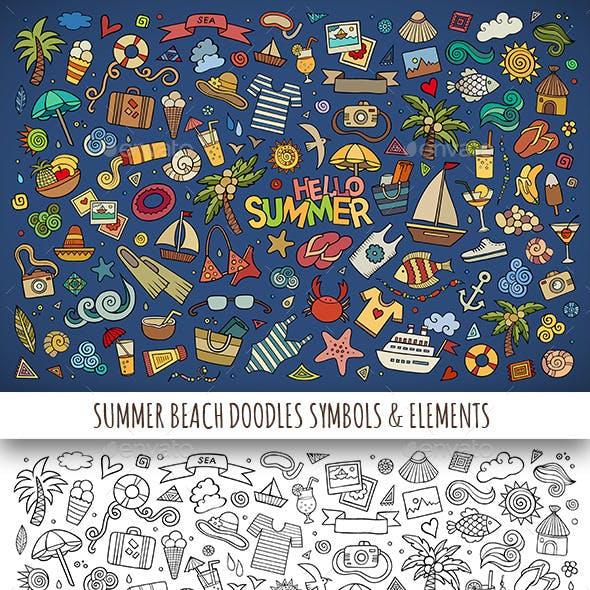 Hand Drawn Summer Beach Doodles Symbols