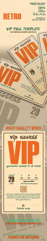 Retro - Elegant Vip Pass Template - Cards & Invites Print Templates
