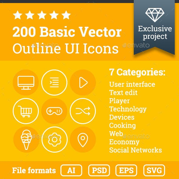 200 Outline UI Icons
