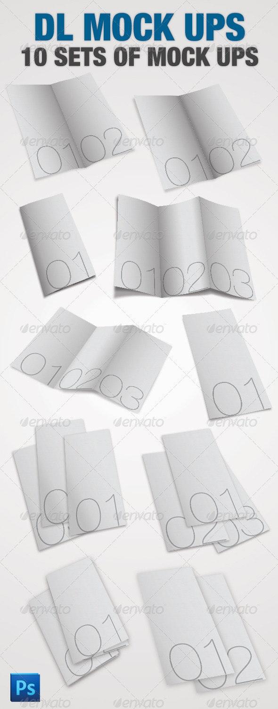 10 DL Leaflet Mock-ups - Photoshop - Brochures Print