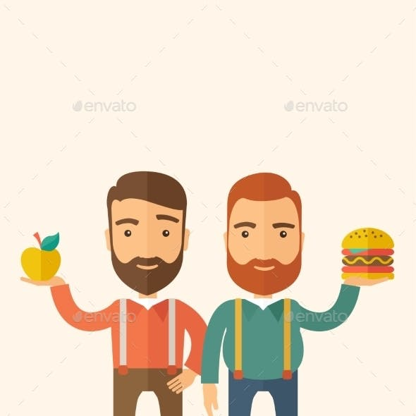 Two Businessmen Comparing Apple To Hamburger