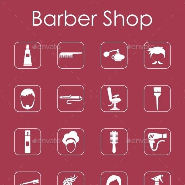 Set Of Barbershop Simple Icons