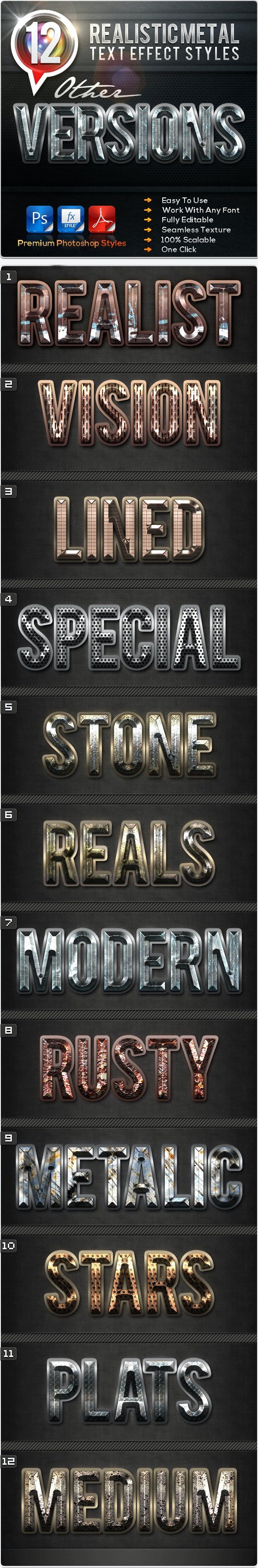 12 Realistic Metal Other Versions - Text Effects Styles