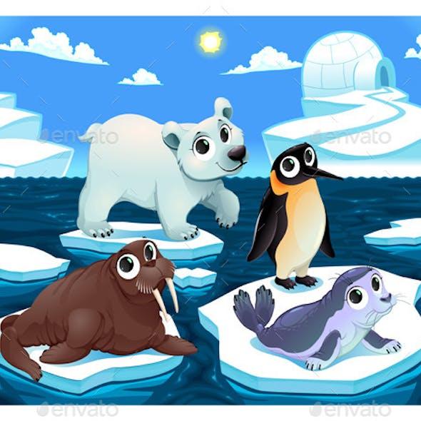 Polar Animals on the Ice