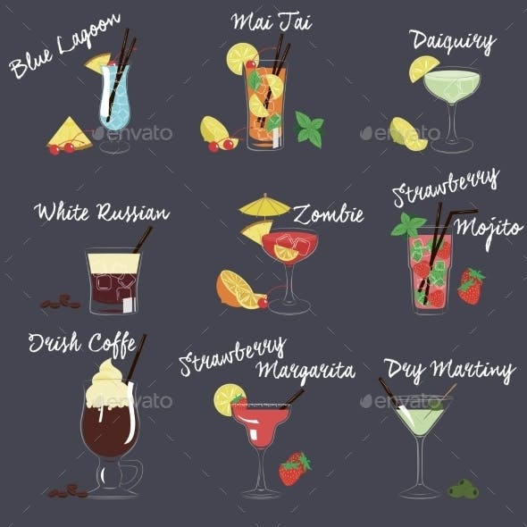 Vector Illustration Of Different Drinks