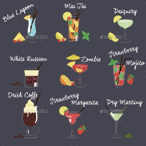 Vector Illustration Of Different Drinks - Food Objects