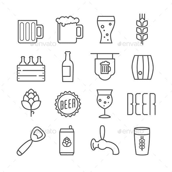 Vector Linear Beer Icons