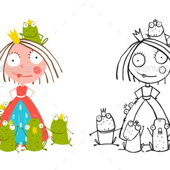 Princess and Many Prince Frogs Portrait Drawing