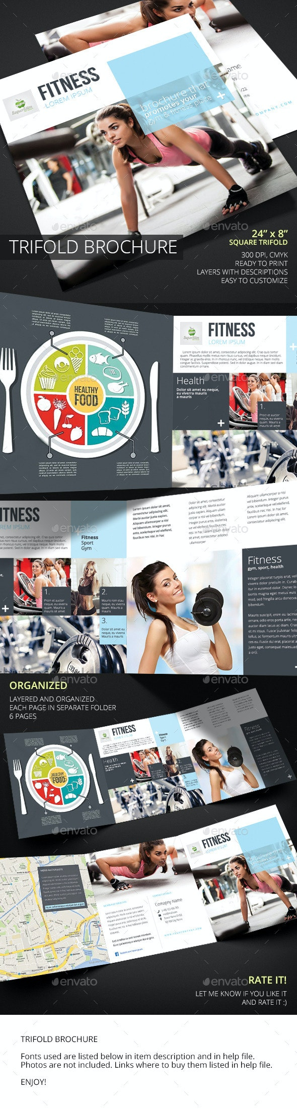 Fitness Square Trifold Brochure - Informational Brochures