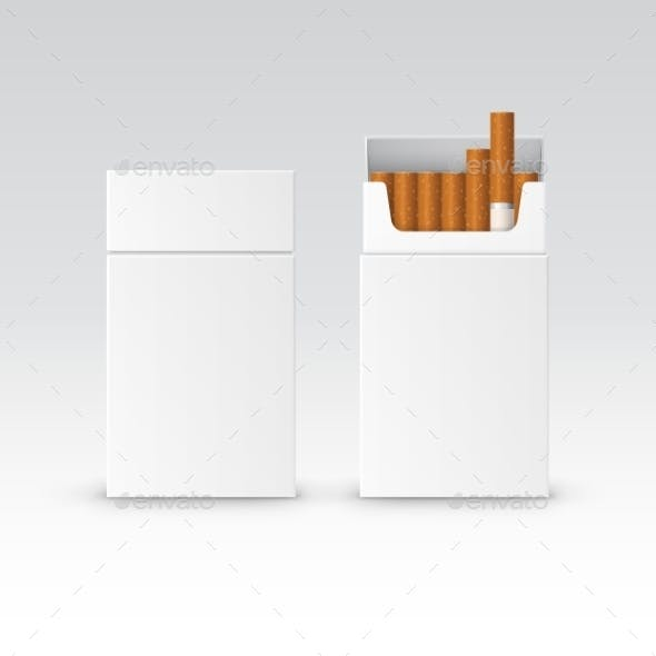 Vector Blank Pack Package Box Of Cigarettes