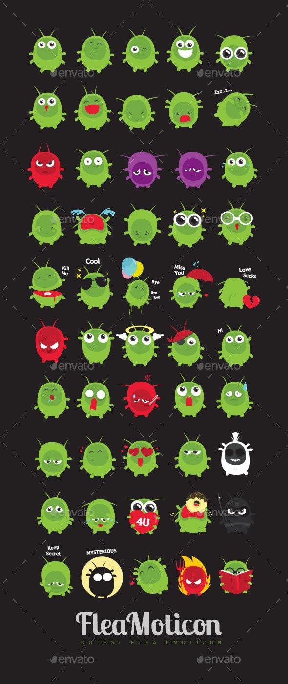 Green Flea Emoticons - Animals Characters
