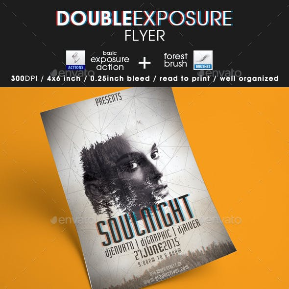 Double Exposure Flyer + Action + Brush