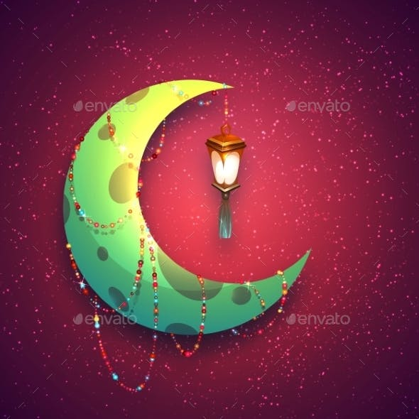Banner With Moon And Arabic Lantern For Holy Month