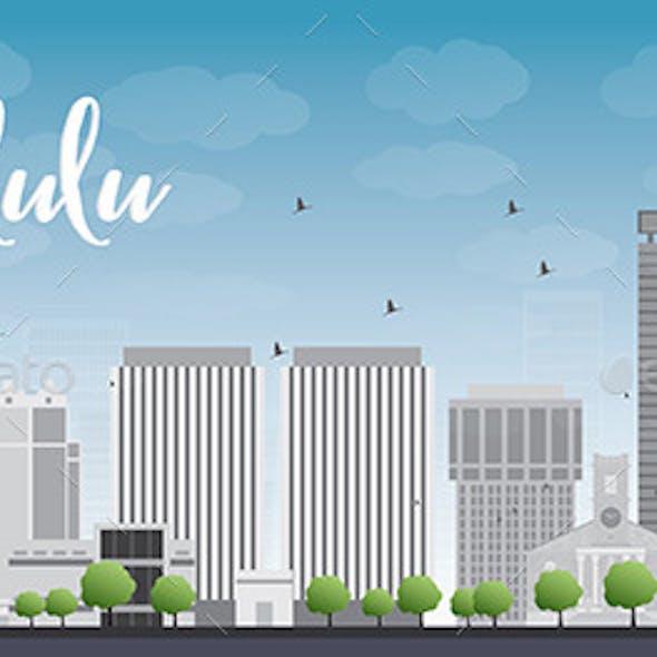 Honolulu Hawaii Skyline with Grey Buildings