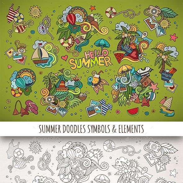 Hand Drawn Summer Doodle Symbols