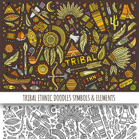 Tribal Ethnic Doodles Elements