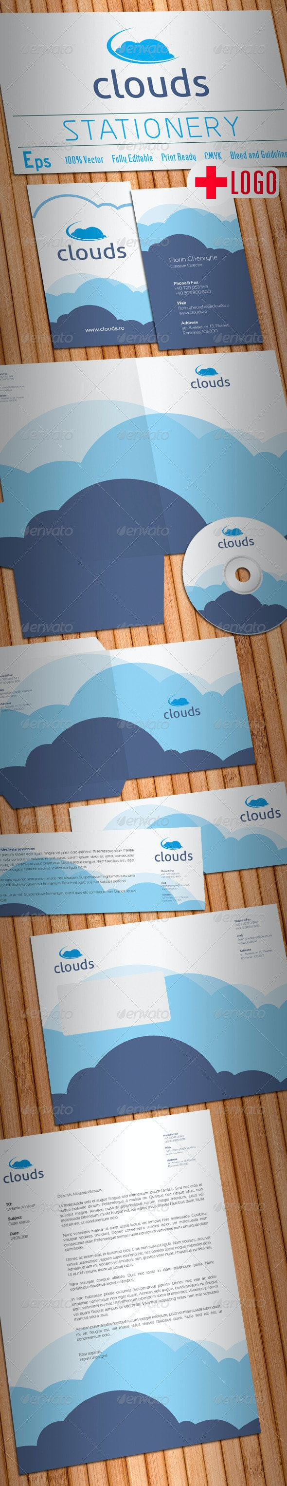 Clouds Stationery - Stationery Print Templates
