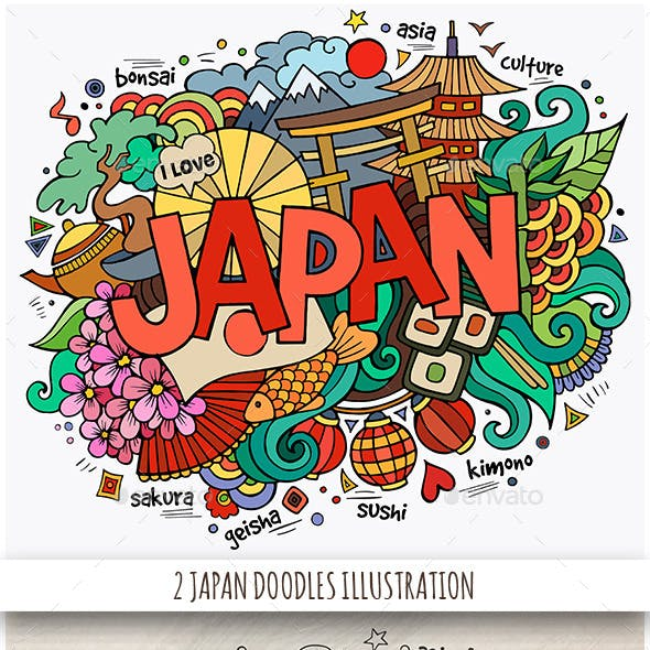 2 Japan Doodles Designs