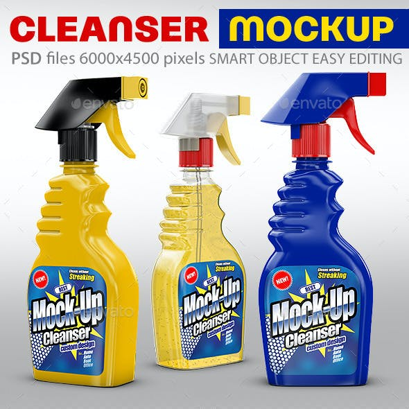 Cleanser Bottle Mockups. Liquid filling possible.