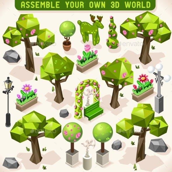Park Set Lowpoly 3D Isometric