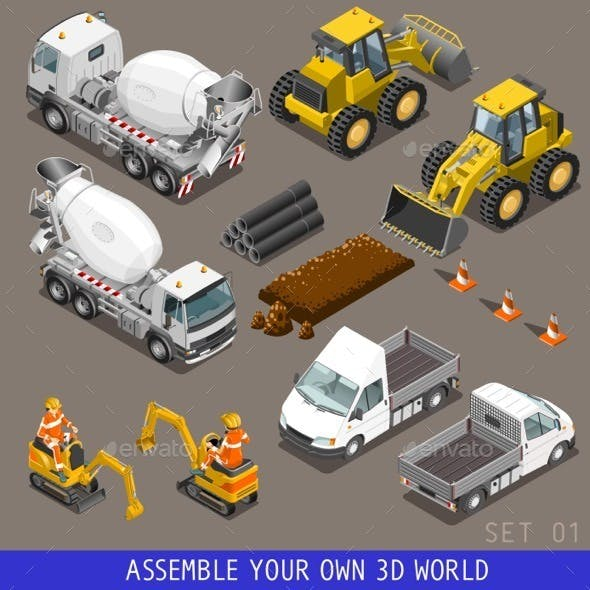 City Construction Transport Isometric Icons