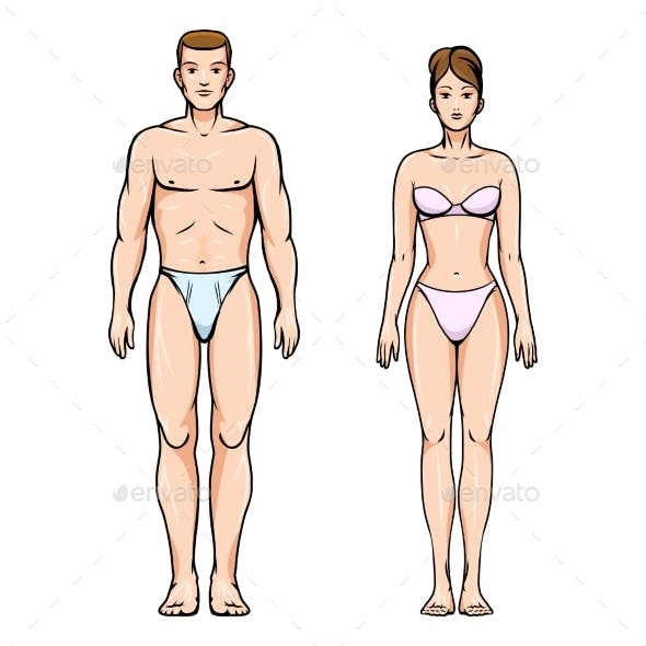 Man and Woman Healthy Body Figures