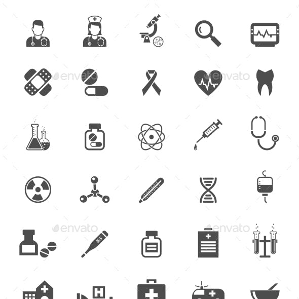Medical Icons on White