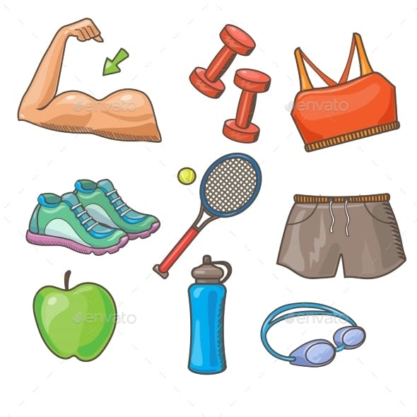 Vector Flat Icons Set Of Fitness Tools