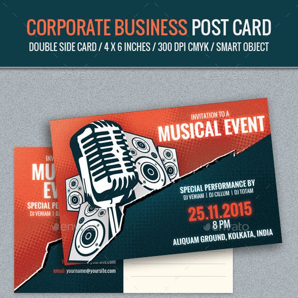 Music Event Post Card Template