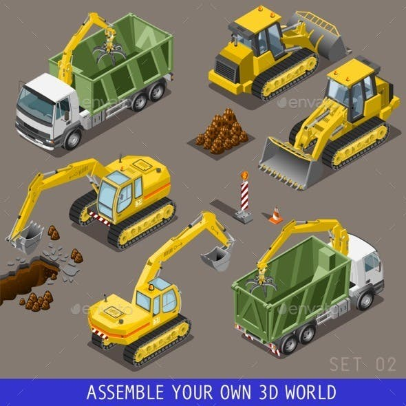 City Transport Construction Isometric Flat 3d Icon