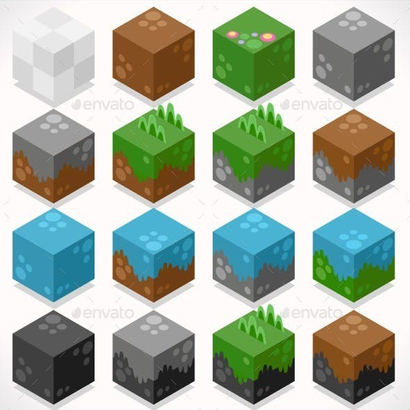 Textured Cubes Mine Elements Builder Craft Kit