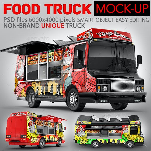 Food Truck Mock-Up. Unique 3D model mockup.