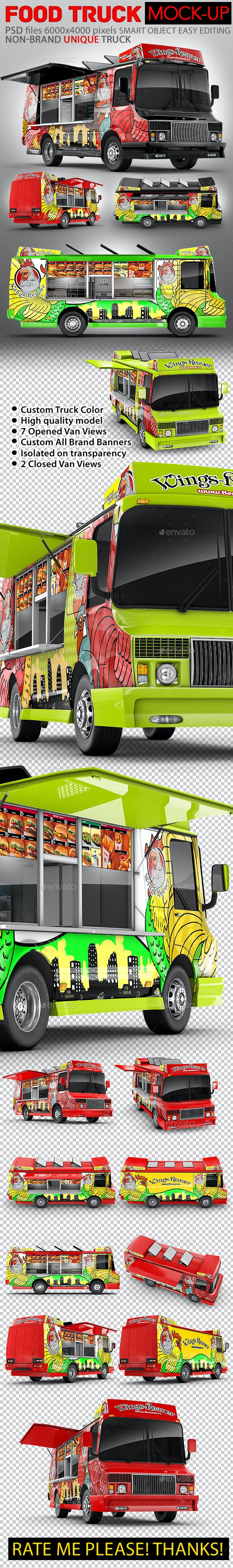 Food Truck Mock-Up. Unique 3D model mockup. - Vehicle Wraps Print