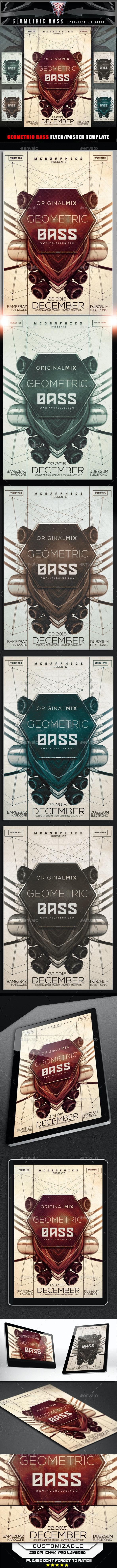 Geometric Bass Flyer Template - Flyers Print Templates