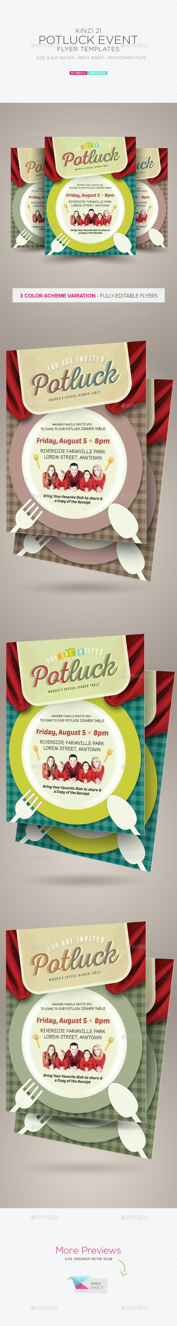 Potluck Event Flyers - Miscellaneous Events