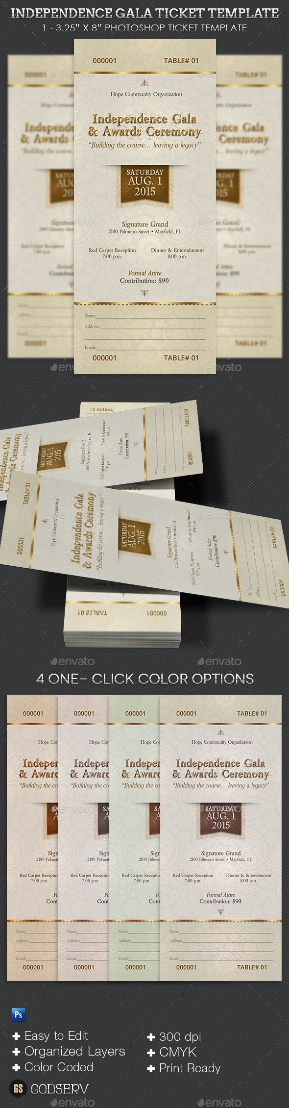 Independence Gala Ticket Template - Miscellaneous Print Templates