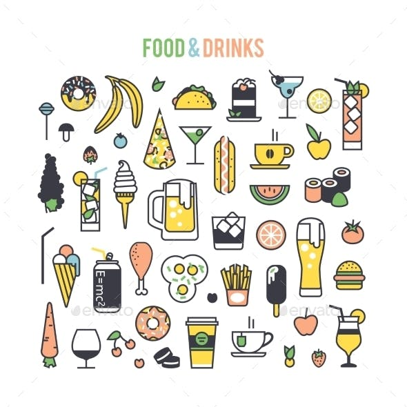 Set Icons Food And Drinks.