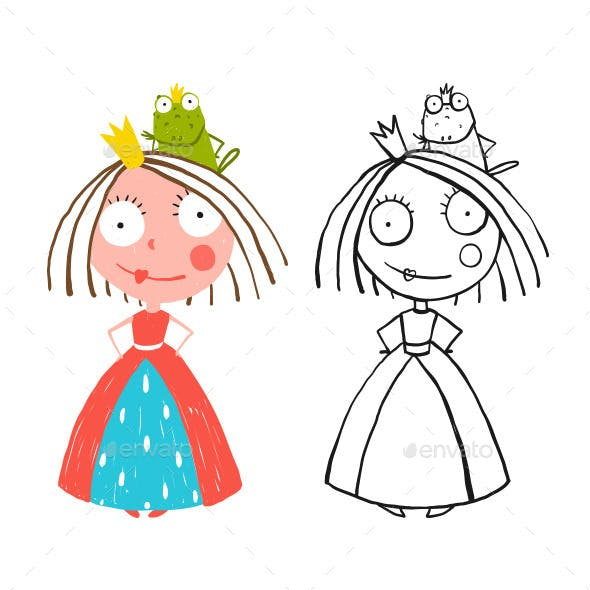 Little Princess Standing with Prince Frog Sitting