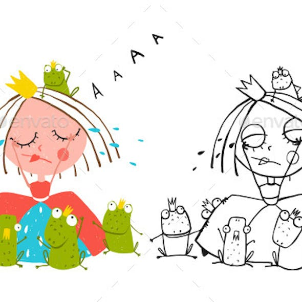 Princess Crying and Many Prince Frogs Drawing