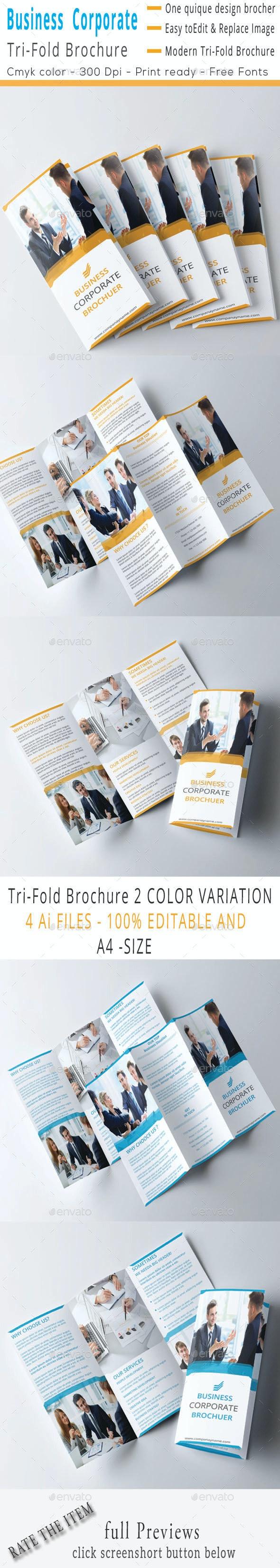 Corporate Business Marketing Tri-Fold Brochure - Corporate Brochures