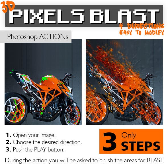 3D Pixels - Cubes Blast Photoshop Action