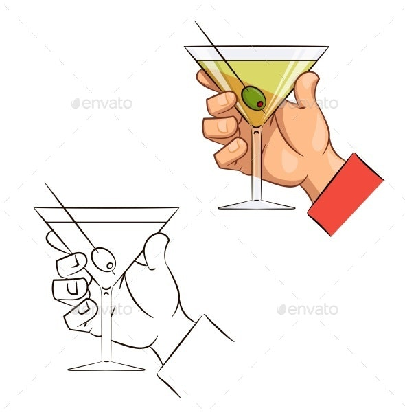 Glass of Martini with Olive in Hand - Food Objects