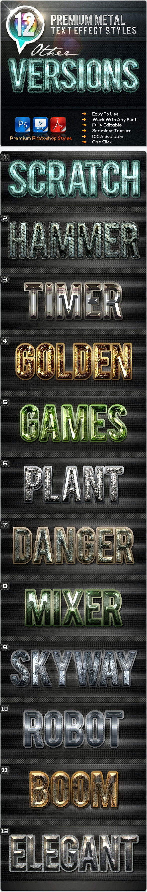 12 Premium Metal Other Versions - Text Effects Styles