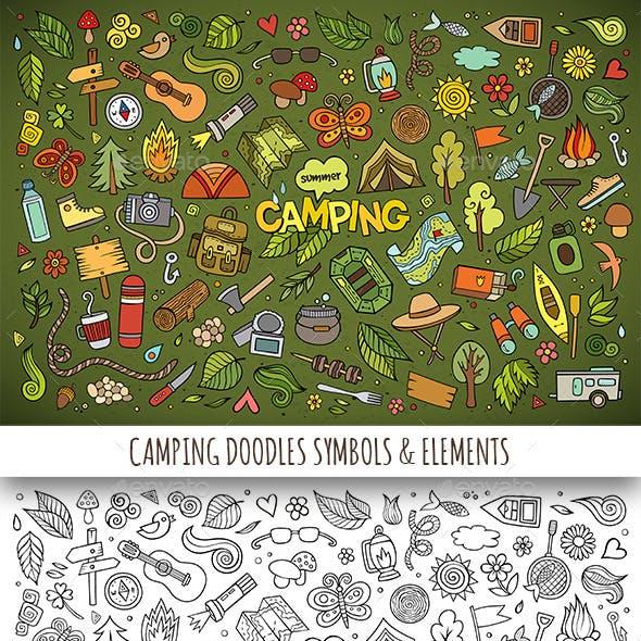 Hand Drawn Camping Doodles Symbols