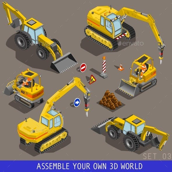 Isometric City Construction Transport Flat 3d Icon