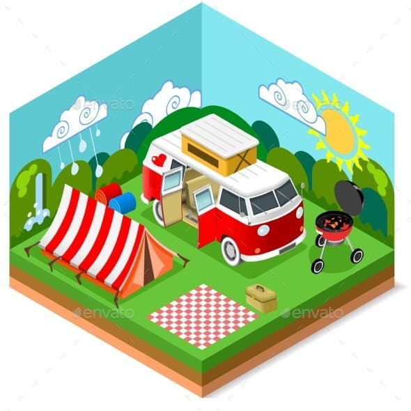 Isometric Picnic Summer Time