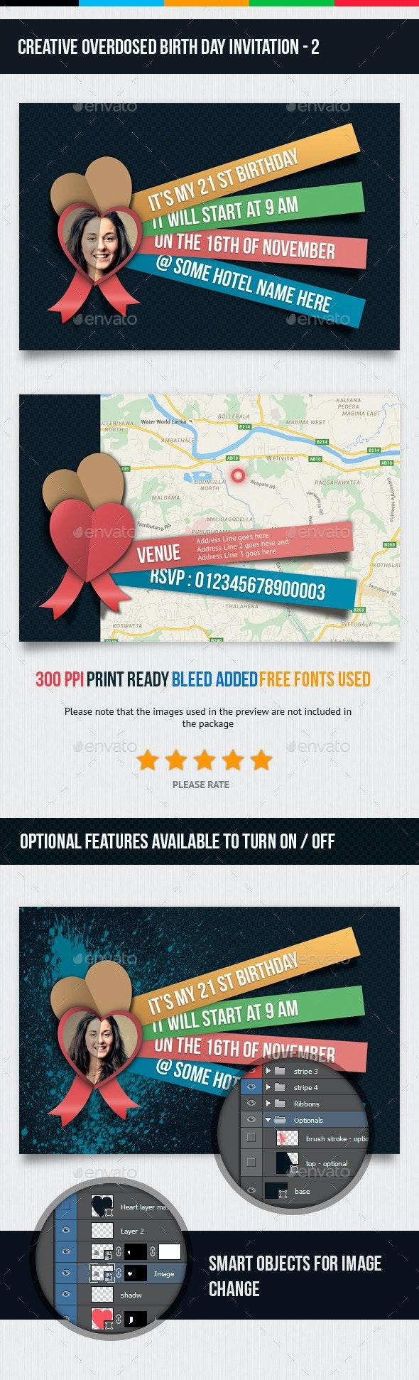 Birthday Invitation - 2 - Cards & Invites Print Templates