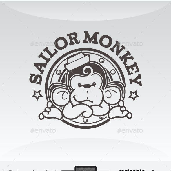 Sailor Monkey - Cute Sailing Mascot Logo